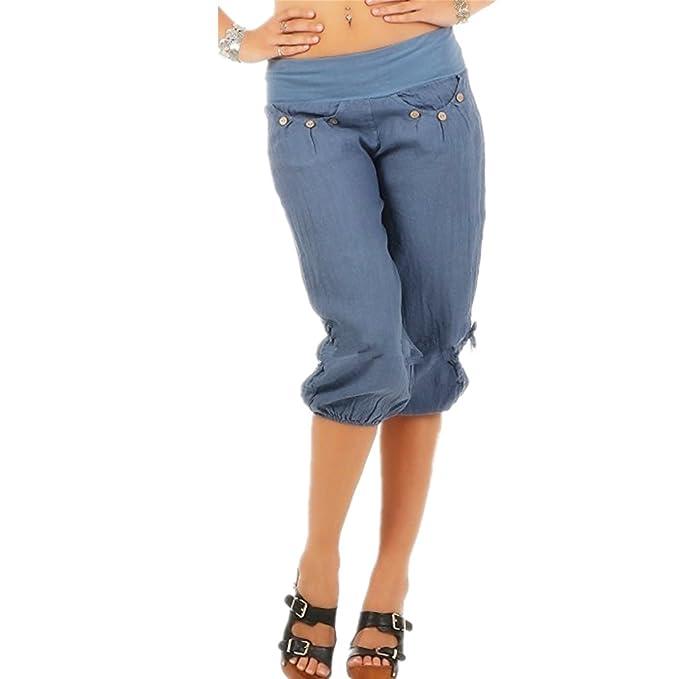 Juqilu Harem Pantalones para Mujeres 3/4 Pantalones Capri de ...