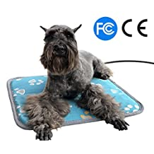 "Clear Stock! Electric Heating Pad for Cats Dogs Pets, Pet Warming Mat with Waterproof Fabric Chew Resistant Cord and Overheat Protection, Size: 17.7""x 17.7"""