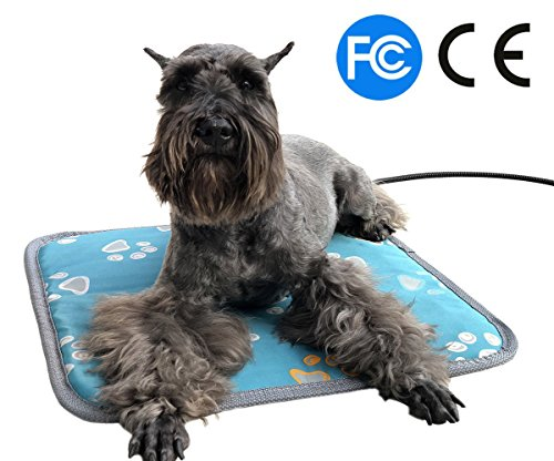 """Electric Heating Pad for Cats Dogs Pets, Pet Warming Mat with Waterproof Fabric Chew Resistant Cord and Overheat Protection, Size: 17.7""""x 17.7"""""""