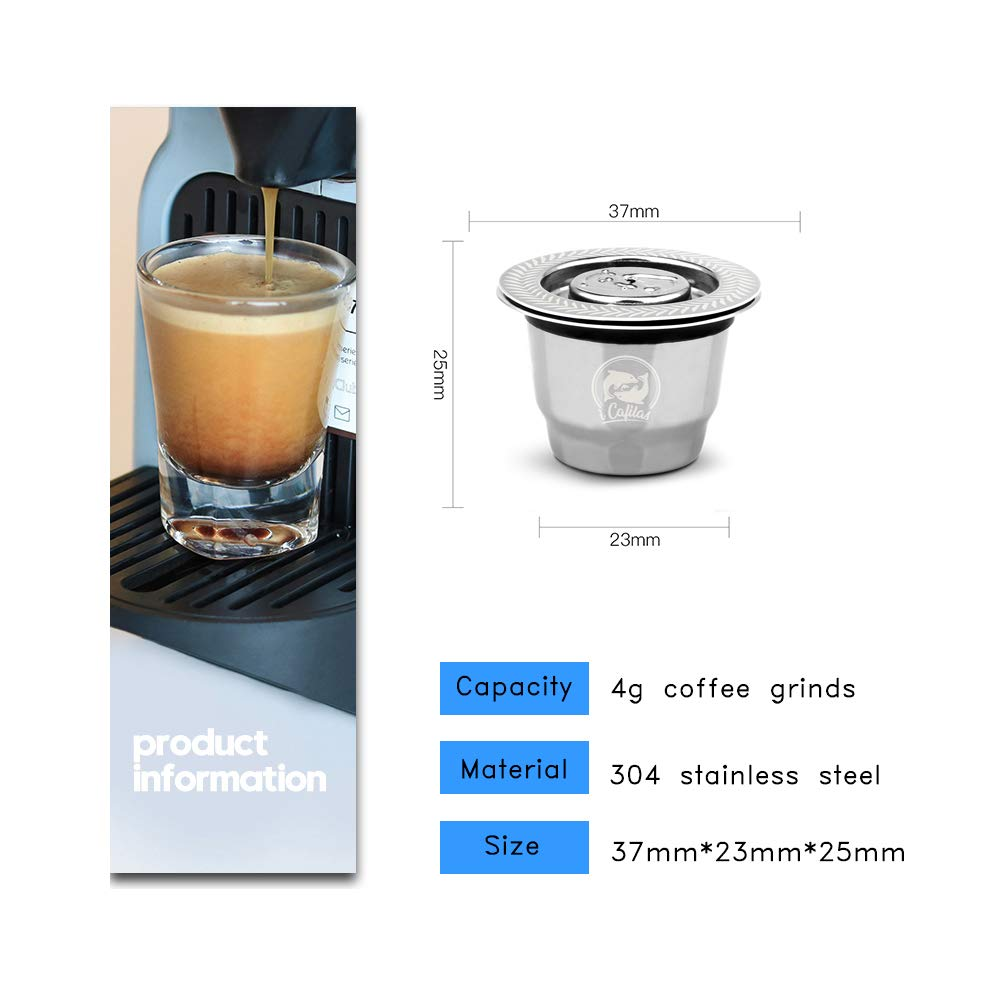 i Cafilas Nespresso Capsula ricaricabile riutilizzabili Filtro da Nespresso caff/è in Capsula da Caff/è in Acciaio Inox Coffee Capsule per Macchine Nespresso