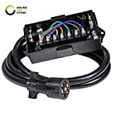 #4: ONLINE LED STORE 7-Port Trailer Wiring Junction Box w/ 8ft Cord [Steel Studs] [Stickers Included] [Weatherproof] Trailer Wire/Cable Connection Box