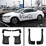 mud flaps 2015 honda accord - VIOJI New Set of 4 Matte Black Durable PP Bolt-On Flap Protect Front & Rear Mud Guards+Screws+Clamps For 13-15 Honda Accord EX/EX-L/Hybrid/LX/LX-S