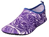CAIHEE Women's and Men's Lightweight Quick Dry Slip On Water Shoes Aqua Barefoot Skin Shoes (6-7 B(M)US Women/6-6.5 D(M)US Men, Purple)