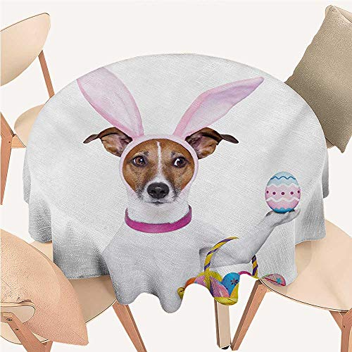 (W Machine Sky Easter Printed Tablecloth Dog Dressed up as Easter Bunny Holding a Basket of Eggs Funny Animal Illustration Round Tablecloth D 50