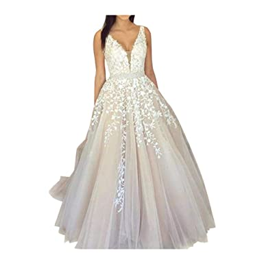 15bf4943fa54 Abaowedding Women s Wedding Dress for Bride Lace Applique Evening Dress V  Neck Straps Ball Gowns Ivory
