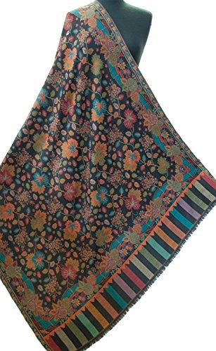 Colorful Floral Black Shawl. Large Jamavar Wool Intricate Kani 80''x40'' Pashmina by Heritage Trading