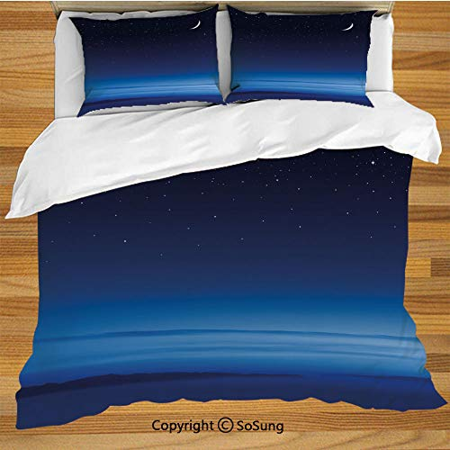 Night Queen Size Bedding Duvet Cover Set,Moon and Stars over Santa Barbara Channel Infinity Foggy Pacific Ocean Decorative Decorative 3 Piece Bedding Set with 2 Pillow Shams,Dark Blue Sky Blue White