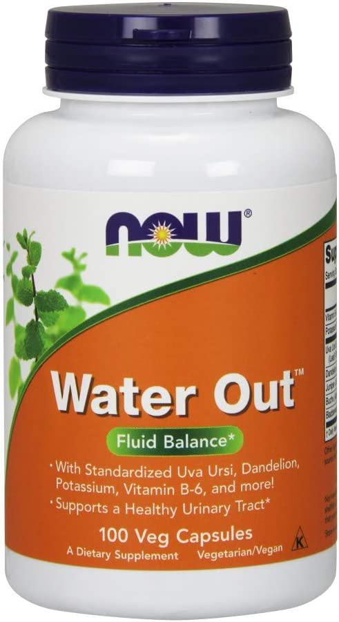 NOW Supplements, Water Out With Standardized Uva Ursi, Dandelion, Potassium and Vitamin B-6, 100 Veg Capsules: Health & Personal Care