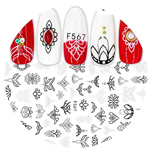 1 Pcs Stickers For Nails Designs White Black Flower Leaf Linear Manicure Sliders 3D Nail Art Decorations Sticker Decal Chf564 573,F567 -