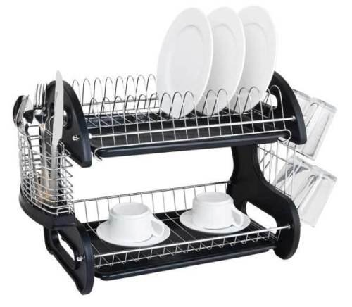 Chrome Finish Wire 2 Tier Black Dish Drainer Drying Rack Offers Space For Draining And Drying After Washing - Ca Macys Orange