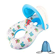 Mommy and Baby Inflatable Baby Pool Float, Dual Person Swimming Ring with Removable Sunshade Protection Canopy by Wonder Space - Suitable for Babies Aged 6 to 24 Months