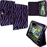 Blackberry Playbook Case, TechSpec(TM) Purple Zebra Folio Pouch Flip Case Cover Stand for Blackberry Playbook