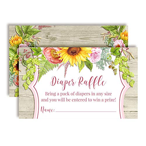 Watercolor Sunflower, Dahlia, Peony Floral Diaper Raffle Tickets for Baby Showers, 20 2