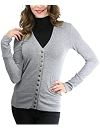 Women's Mixed Knit Long Sleeve V-Neck Button Front Cardigan Sweater
