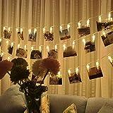EleganBello Catena Luminosa Striscia LED Molletta Clip Foto Luce Bianca Calda 2,2 Metri 20 Singoli Lucine Decorative per Salotto, Camera da Letto, Patio, Alberi, Negozio, Balcone o altri Occassioni