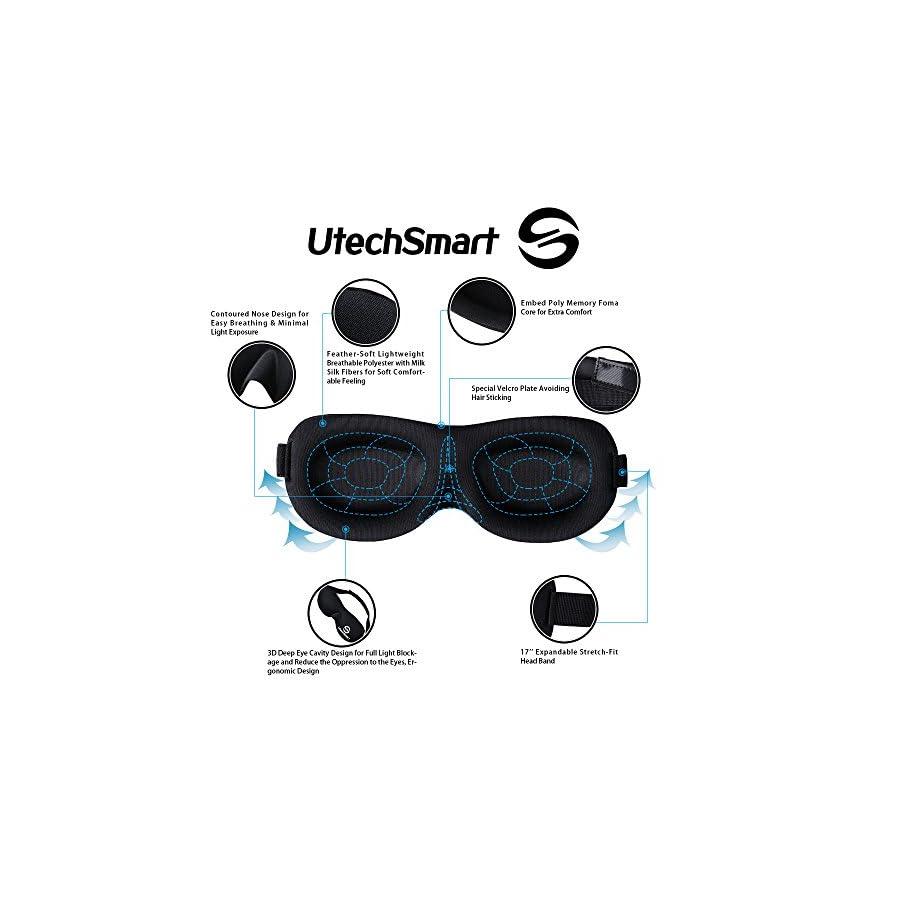 UtechSmart Sleep Mask, Black Out Adjustable Contoured 3D Sleep Eye Mask Lightweight and Comfortable Eye Cover Blindfold Eyeshade for Sleeping Travel Shift Work Naps Meditation & Night