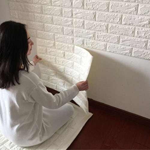 PE Foam 3D Wallpaper REYO 3D Wall Paper Brick DIY Wall Stickers Wall Decor Embossed Brick Stone 6060cm (White, 6060cm) (Style Tuscan Mirror)