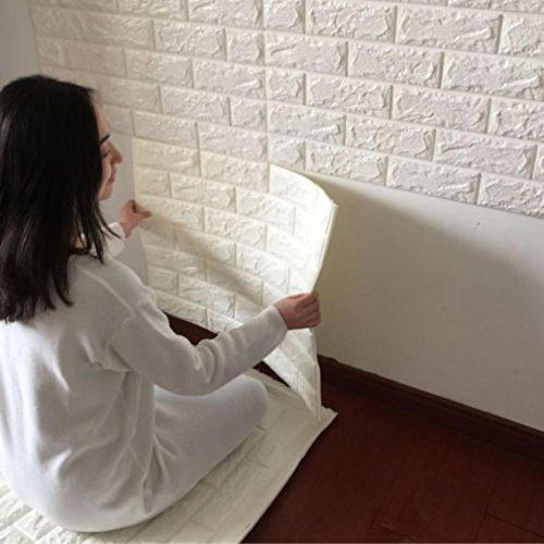 PE Foam 3D Wallpaper REYO 3D Wall Paper Brick DIY Wall Stickers Wall Decor Embossed Brick Stone 6060cm (White, 6060cm) (Style Mirror Tuscan)