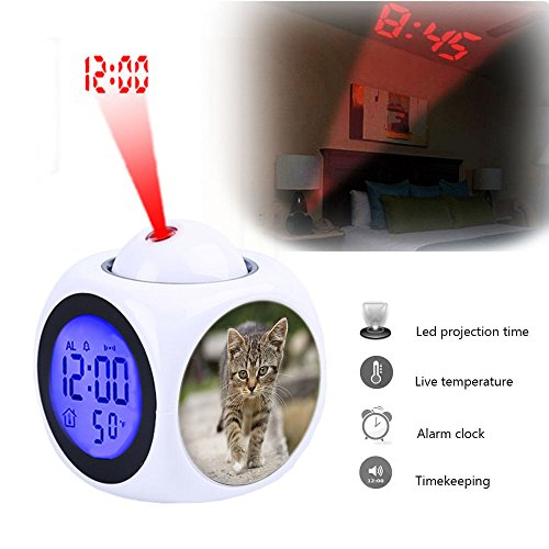 Projection Alarm Clock Wake Up Bedroom with Data and Temperature Display Talking Function, LED Wall/Ceiling Projection,Customize the pattern-077.Cat, Tabby, Outdoors, Animals, Cute, Kitten, Pets (Talking Cat Clock)