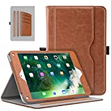 MoKo Case Fit 2018 2017 iPad 9.7 6th 5th Generation iPad Air iPad Air 2 Tablet - Slim Folding Stand Folio Cover Case with Document Card Slots - Multiple Viewing Angles - Brown