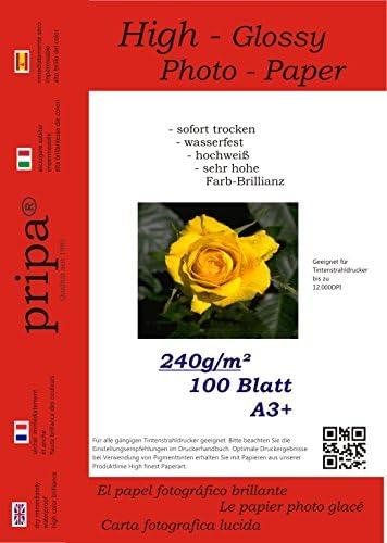 pripa - A3+ - 100 Blatt Fotopapier Photopapier DIN - A 3 + - 240g/qm - glossy glaenzend - sofort trocken - wasserfest - hochweiß - sehr hohe Farbbrillianz fuer InkJet Drucker Tintenstrahldrucker