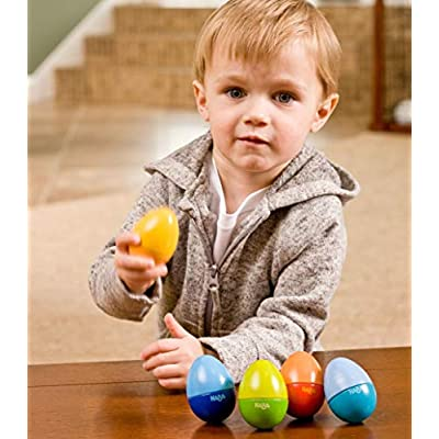 HABA Shakin Eggs - HABA Shakin Eggs - Feel the Rhythm While Learning Sound Differentiation with 5 Wooden Eggs Classic Musical Fun: Toys & Games