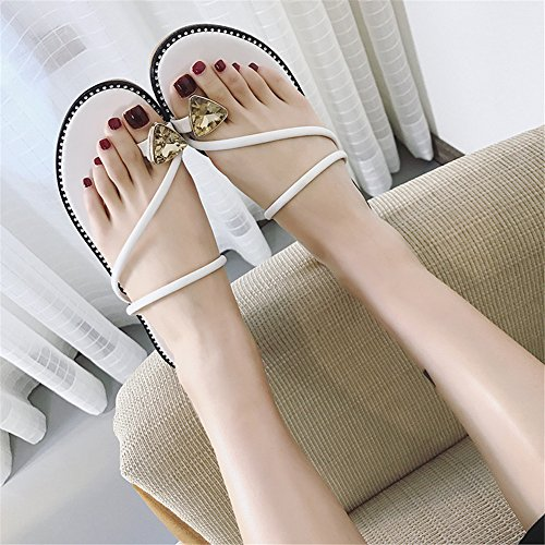 Mignon Chaussures Night Plates Blanc Pendentif Femmes Good Backless D'orteil Strass Anneau BHEnq