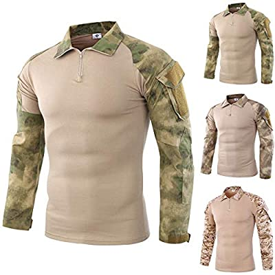 POHOK Clearance Men's Tactics Camouflage Coat Long-Sleeve Beefy Muscle Basic Solid Blouse Tee Shirt Top