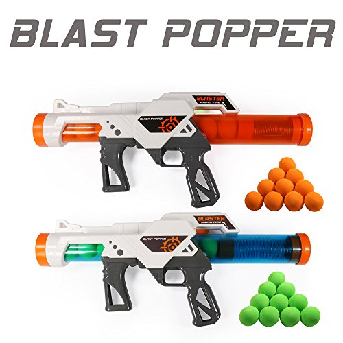 EXERCISE N PLAY 2 PCS Power Popper Gun Dual Battle Pack Foam Ball Air Powered Shooter Toy Guns for Kids Role Playing with Their Family Members or Partners -