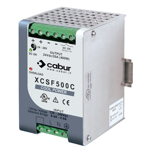 ASI XCSF500C DIN Rail Mount Power Supply with Redundancy Capability, 24 VDC, 500W, 20 amp Output, 90 to 264 VAC Input (Power Mount Rail Supply Din)