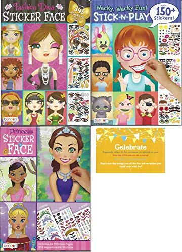Princess Face - Create a Face Bundle for Girls. Inlcludes 1 Princess Sticker Face, 1 Fashion Diva Sticker Faces, 1 Wacky Wacky Fun! Stick-N-Play and 1 Celebrate Post Card
