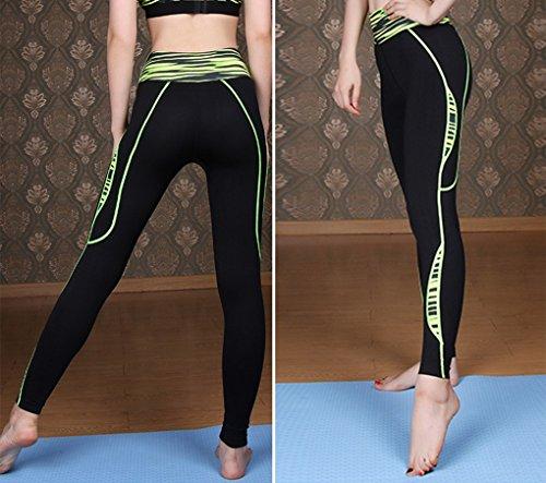 Acme–Pantalón de running mujer–Long impreso con efecto de compresión y función Quick Dry Verde