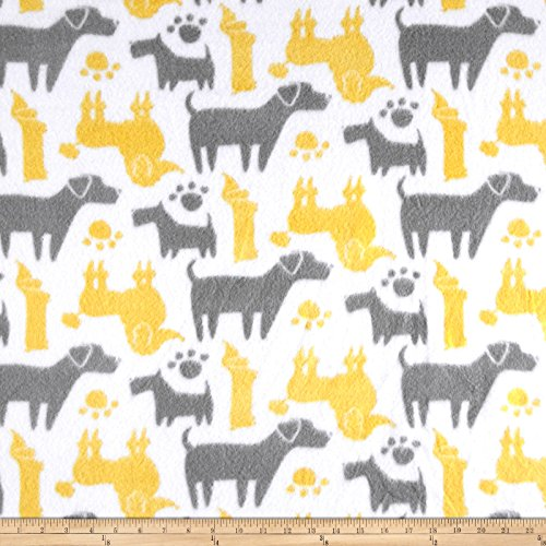 CAMELOT Fabrics 0545710 Fleece Dog Silhouettes Yellow Fabric by The Yard,