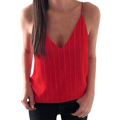 SHOBDW - Camisa Sexy para Mujer de Verano con Cuello en V, con ...