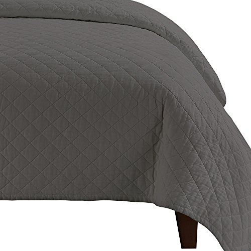 Echelon Home Queen Slate Grey Quilted Washed Belgian Linen Coverlet