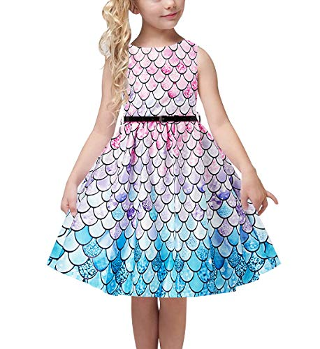 uideazone Kids Girls Mermaid Party Dresses 50s Retro Rockabilly Sleeveless Prom Dresses Summer Casual Floral Dress Knee Length with Belt for Girl 6-7 Years