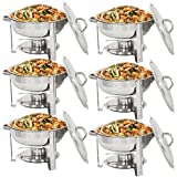 Super Deal Pack of 6 Deluxe Full Size Round Durable Frame 5 Qt. Stainless Steel Chafing Dish, Dinner Serving Buffer Warmer Set (6)