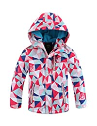 Hiheart Girls&Boys Waterproof Fleece Lined Jacket Hood Windproof Rain Coat