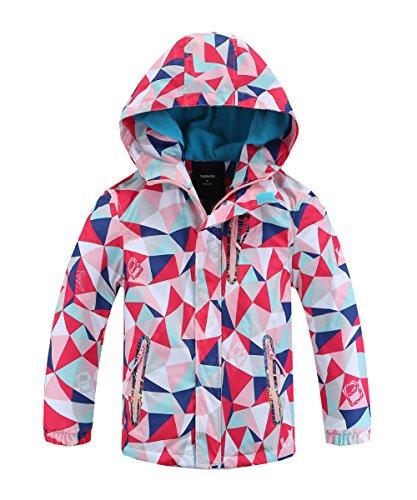 Hiheart Girls Boys Waterproof Fleece Lined Jacket Hood Windproof Rain Coat Pink 8/9 ()
