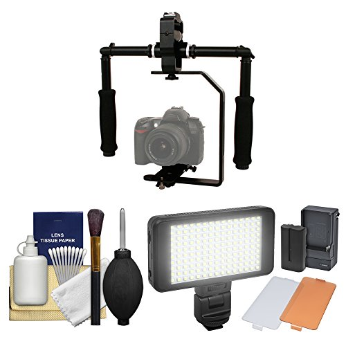 Stabilizer Bracket Kit - RPS Studio FloPod Digital SLR Camera Video Stabilizer Bracket with LED Video Light + Cleaning Kit