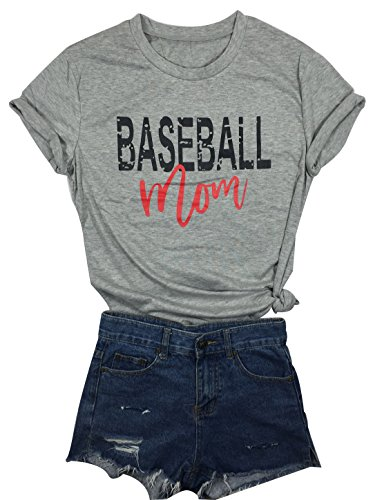 05ed9f88 LONBANSTR Women Baseball Mom Letter Print T Shirt Short Sleeve Tops Tee