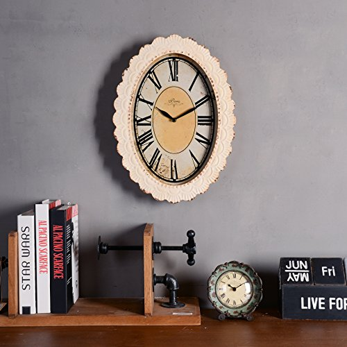 NIKKY HOME Paris Flower Wall Clock, 13-3/8'' x 2-3/4'' x 18-1/8'', Off-White by NIKKY HOME (Image #6)