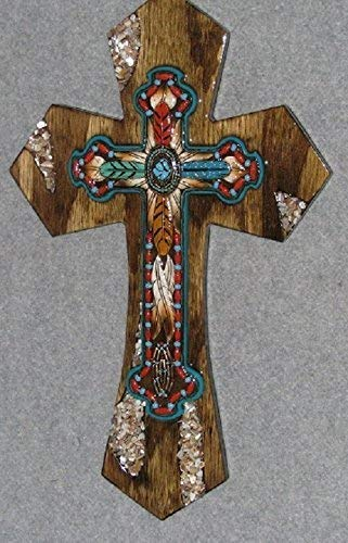 decorative wall cross, turq and red Indian, southwest cross, handmade, wooden