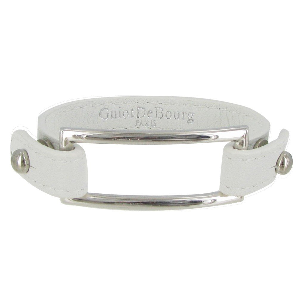 Les Poulettes Jewels - Sterling Silver Bracelet - With White Leather and Rectangle Knot Design