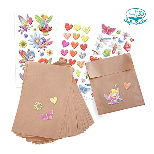 Mädchen-Set Nr.2: 25 braune Papiertüten (13 x 18 cm) mit 3 Soft-Sticker-Bögen Elfen, Herzen und Schmetterlinge; als Geschenk, Mitgebsel oder Tischdekoration für Geburtstag, Party etc.