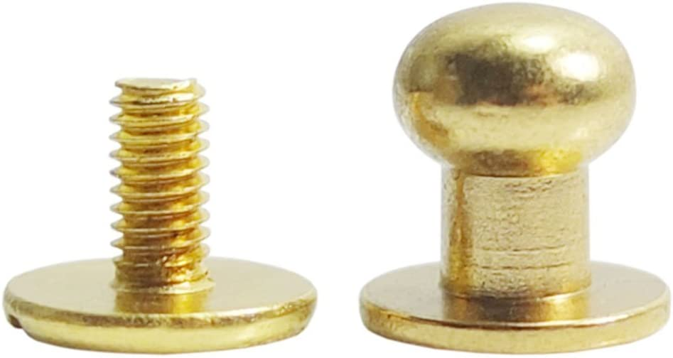 Bluemoona 50 Sets Nickel Head Button 8mm 5//16 Brass Stud Screwback Screw Back Spots for Leather Rivet