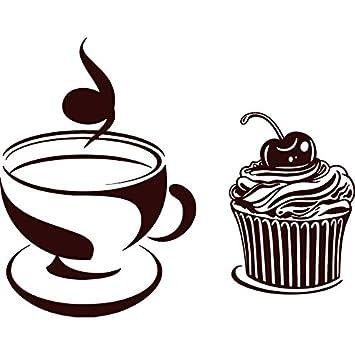 Incrediblewalldecals Wandaufkleber Tasse Kaffee Kuchen Aufkleber