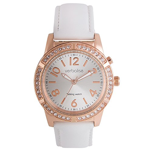 - Verbalise Ladies Gold Talking Watch with Swarovski Crystals and White Leather Strap (Rose Gold)