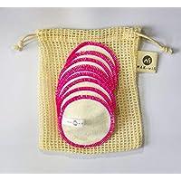 Abschminkpads Waschbar 100% Baumwolle in Blau/Rose/Grün 10er Set Inkl. Gratis E-buch & Wäschenetz aus Baumwolle ♻ Wattepads Wiederverwendbar ♻ Plastikfreie Verpackung - Zero Waste (Rose)
