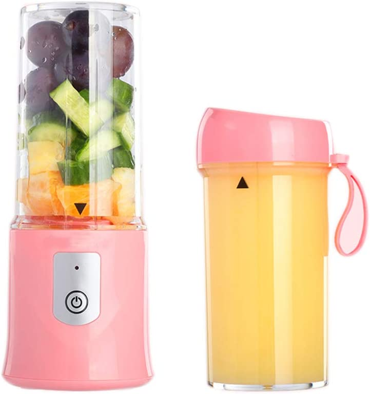 Portable Blender, USB Travel Juice Cup Mini Blender with Updated 6 Blades with Powerful Motor 2*2000mAh Rechargeable Battery, 10.8 Oz (pink)